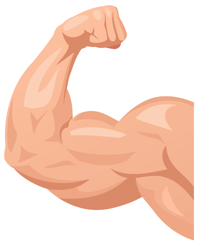 Muscle arm flexing