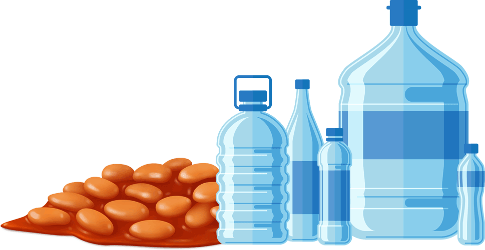 Bottled water and beans