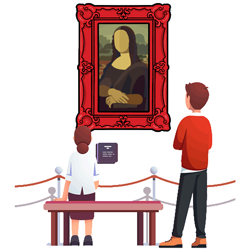Mona Lisa in art gallery