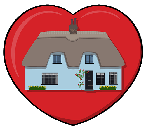 Cottage in a heart
