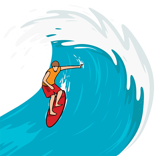 surfing giant wave