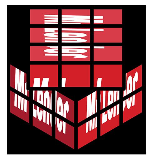 Red rubik's cube