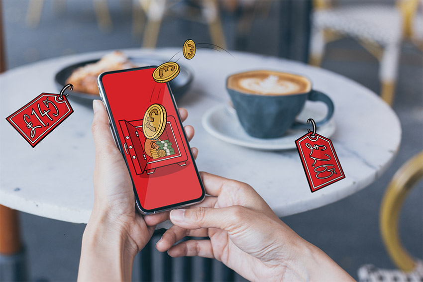 paying the bill via an app