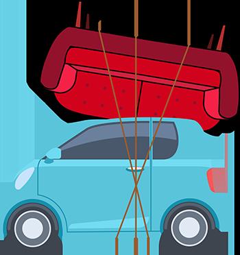 Car transporting a sofa