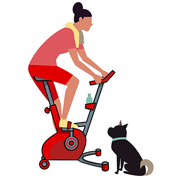 Woman exercising whilst dog watches