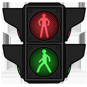 Traffic lights pedestrian crossing
