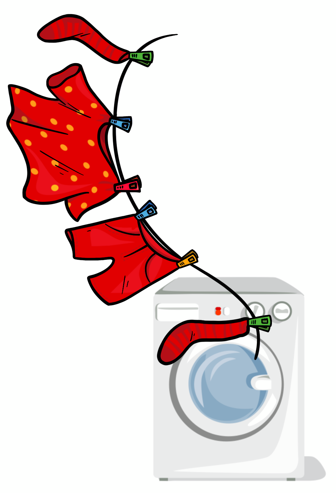Washing line and washing machine